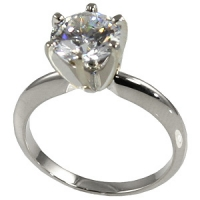Sterling Silver CZ Cubic Zirconia 6 Prong Solitaire Engagement Ring - Product Image