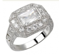 Sterling Silver CZ Cubic Zirconia Halo Inverted Emerald Radiant cut Antique Inspired Ring - Product Image