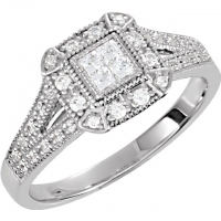 Sterling Silver CZ Cubic Zirconia Halo Princess cut Antique Inspired Ring - Product Image