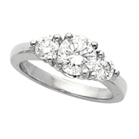 Classic Traditional Sterling Silver Cubic Zirconia CZ 3 stone Wedding / Engagement Ring - Product Image