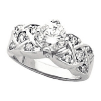 "Sterling Silver 14k Tulipset® ""Any Stone Size/Shape"" XOXO Engagement Ring - Product Image"