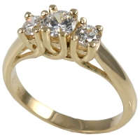 Sterling Silver Lucern 3 Stone CZ Cubic Zirconia Ring - Product Image