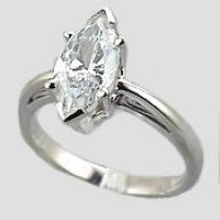 Sterling Silver Marquise Cut CZ Cubic Zirconia Vintage Scroll Solitaire Ring - Product Image