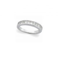 Sterling Silver Princess Cut Anniversary Ring / Wedding Band  - Product Image