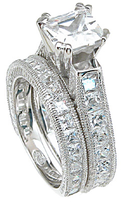 Sterling Silver Princess Or Round Brilliant Cut Cathedral Antique Inspired Wedding Set Cz Cubic Zirconia Ring Shipping Terra S Jewelry