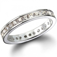 "Sterling Silver Round Brilliant ""Stackable"" CZ Eternity Ring Wedding Band Clear or Colored Stones! - Product Image"