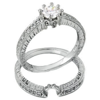 Sterling Silver Round Brilliant Cut 8-Prong Antique Inspired Wedding Set CZ Cubic Zirconia Ring Set - Product Image