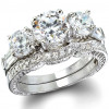 Sterling Silver Round and Baguette Cut Antique Inspired Wedding Set CZ Cubic Zirconia Ring Set