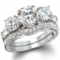 Sterling Silver Round and Baguette Cut Antique Inspired Wedding Set CZ Cubic Zirconia Ring Set - Product Image
