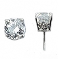 Sterling Silver Round Brilliant CZ Cubic Zirconia Scroll Style Earrings - Product Image