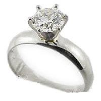 Sterling Silver Russian CZ 4mm Wide Band Engagement Ring - Product Image