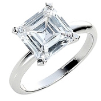 Sterling Silver Russian CZ Asscher Cut Solitaire Engagement Ring - Product Image