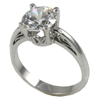 Sterling Silver Round Brilliant Russian CZ Cubic Zirconia Antique Inspired Scroll Solitaire Ring - Product Image