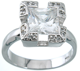 Sterling Silver Russian CZ Princess Cut Antique Inspired Corner Bezel Solitaire Ring  - Product Image