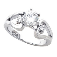 "Sterling Silver ""Any stone size/shape"" Scroll Heart Engagement Ring - Product Image"